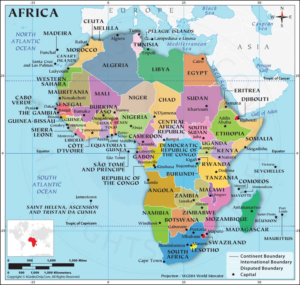 Africa Map with Capitals, Map of African Countries, Africa ...