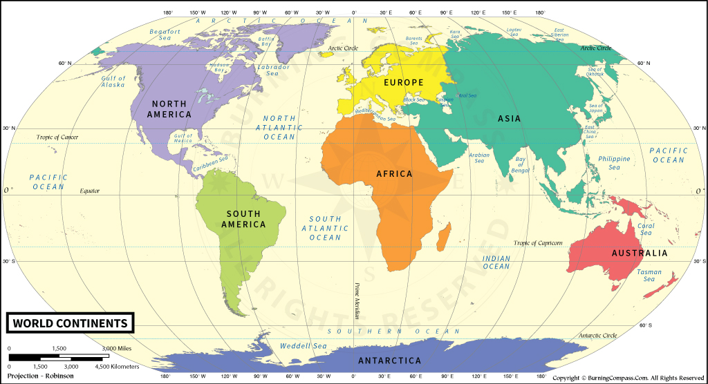 Continents Map HD