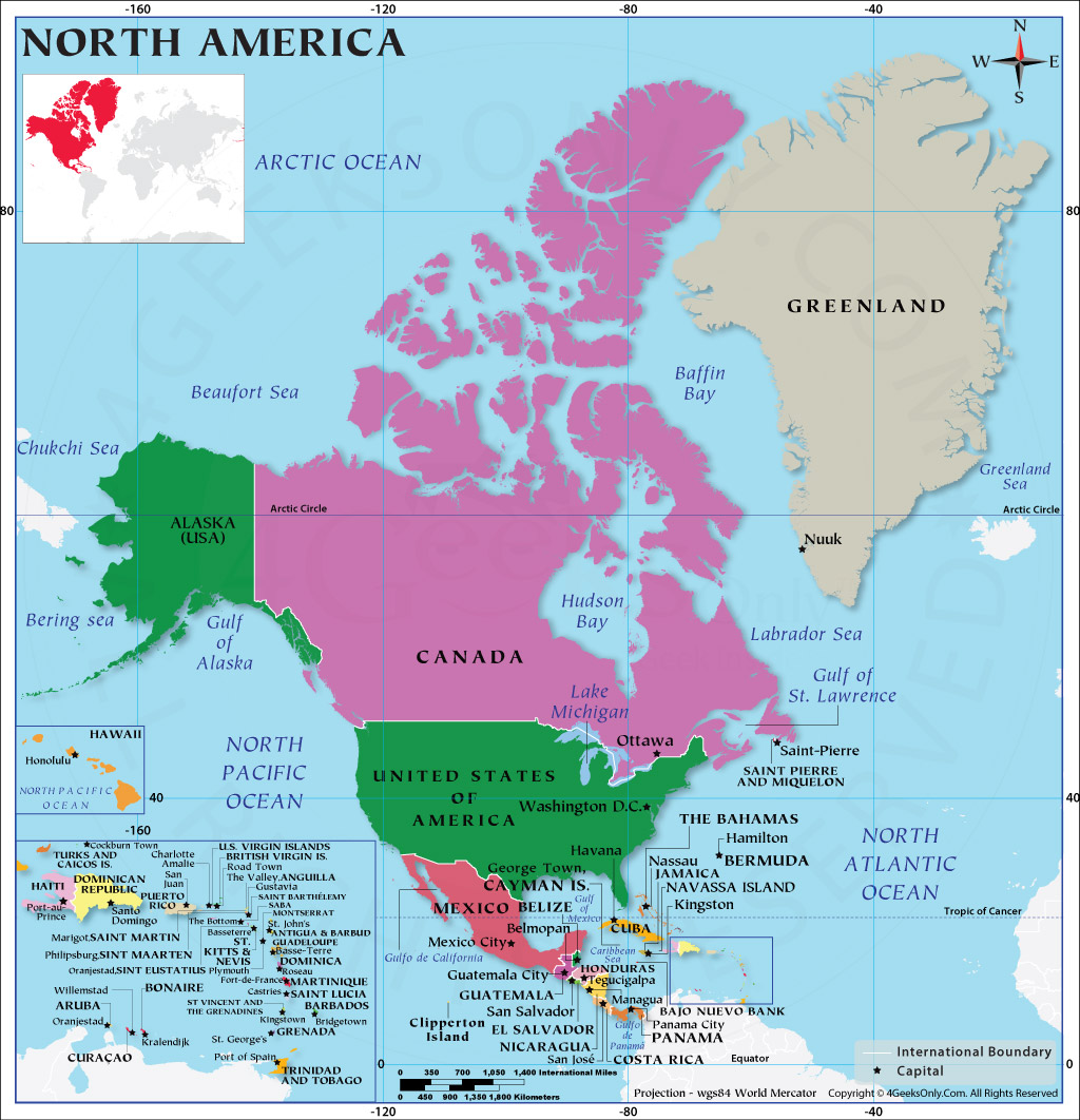 Picture of: North American Countries How Many Countries In North America