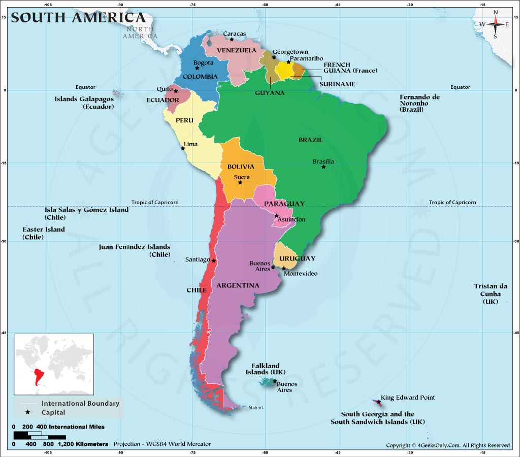 South America Map Labeled, Map of South American Countries, S ...