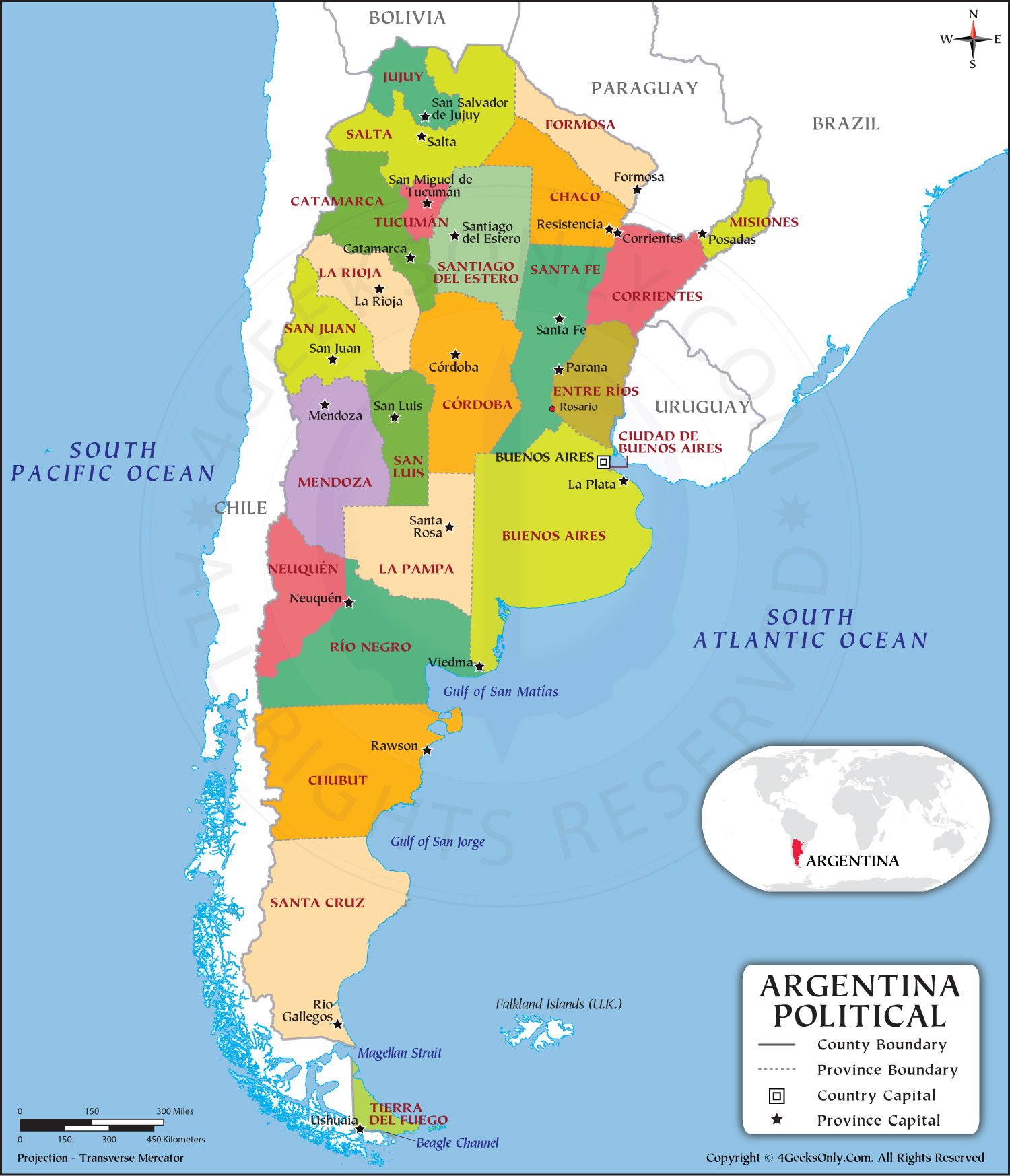 Political Map of Argentina HD