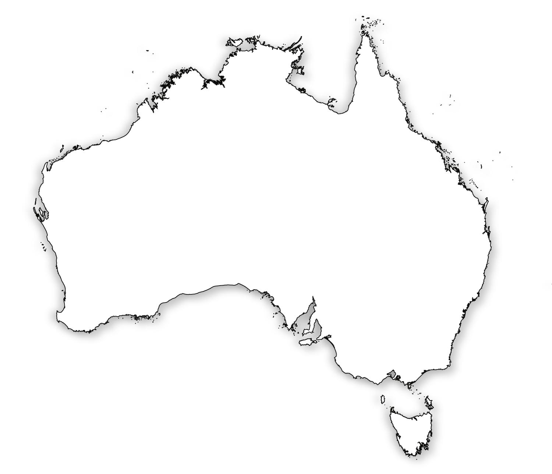 Outline Map of Australia HD