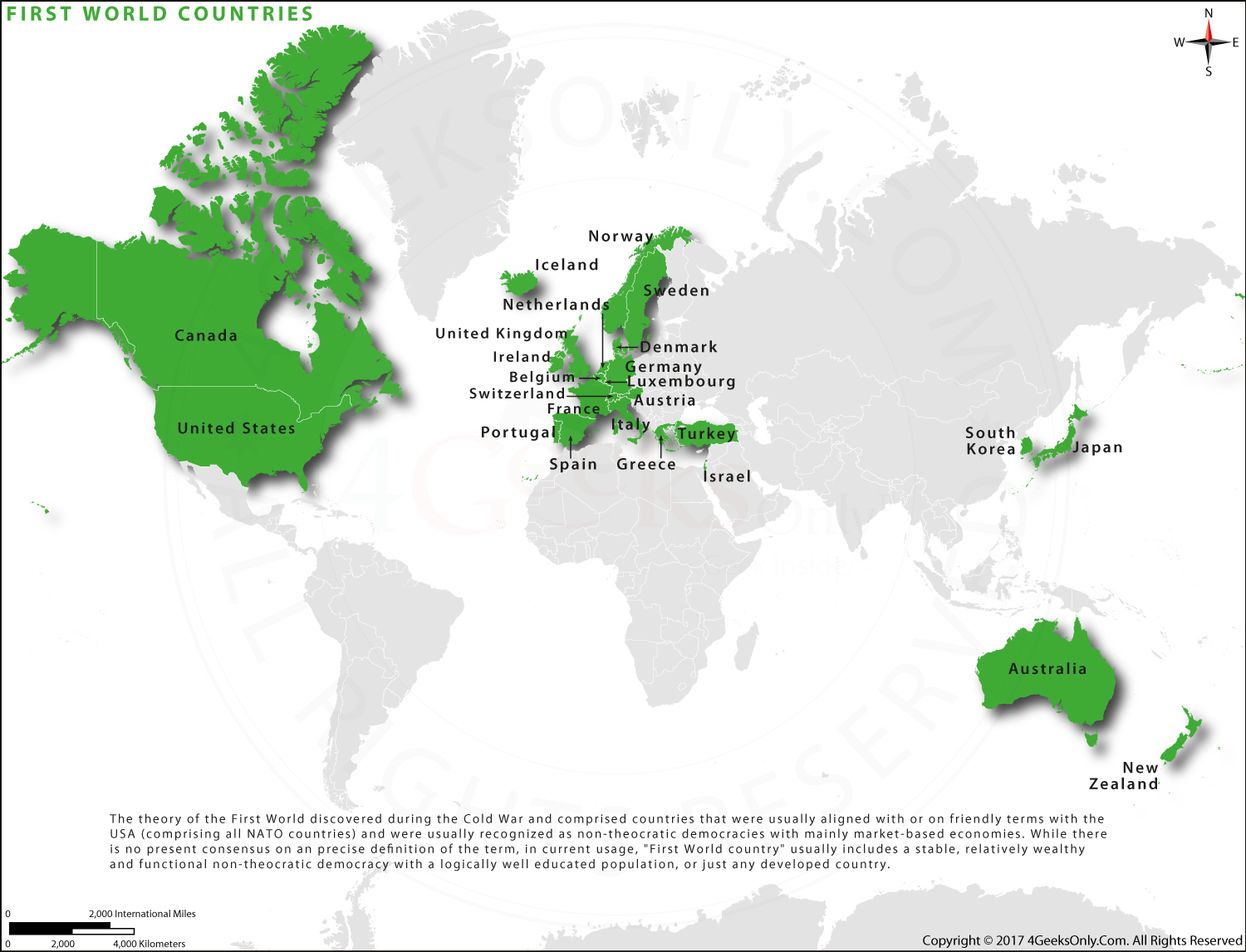 First World Countries Map in HD