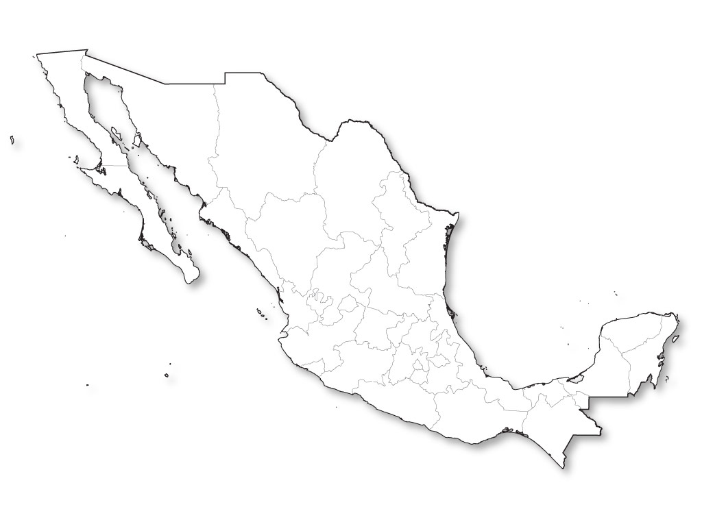 This is a graphic of Crush Printable Map of Mexico