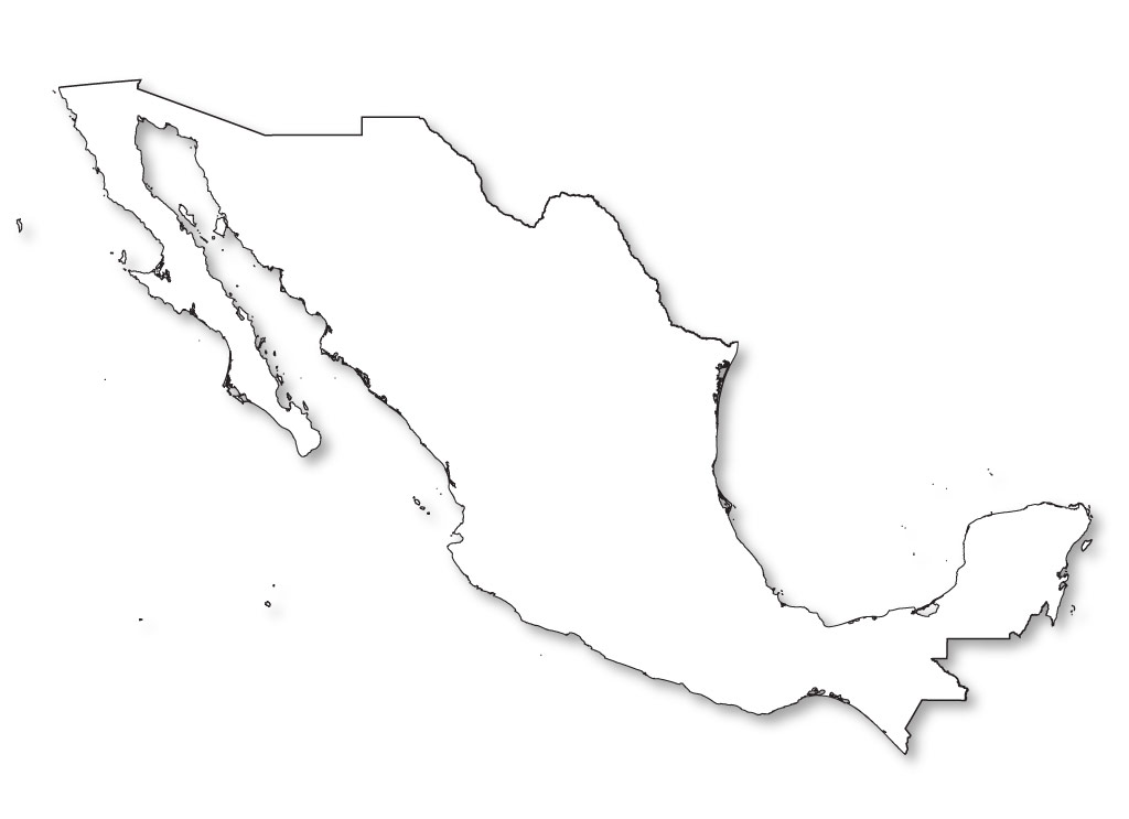 Blank Map Of Mexico - Outline map of