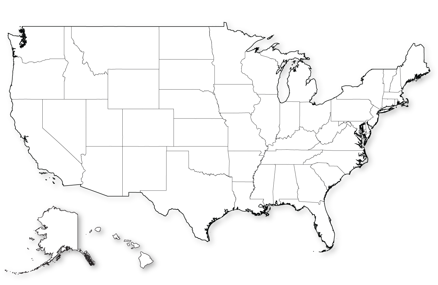Blank Map of US in HD