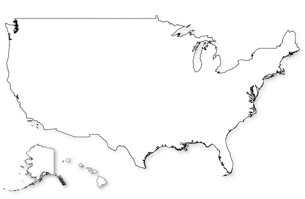 Us Outline Map Blank Map of US