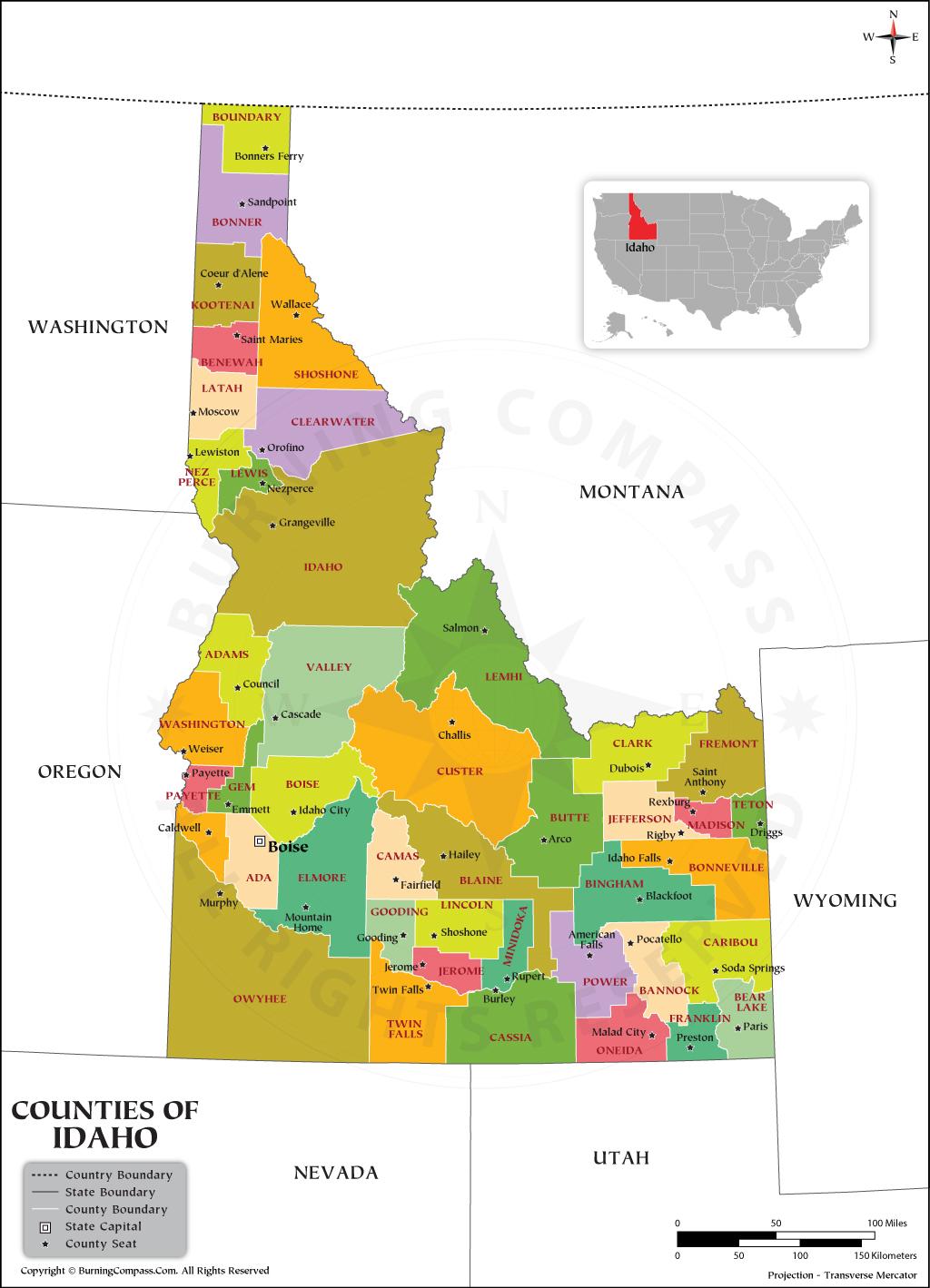 Idaho County Map