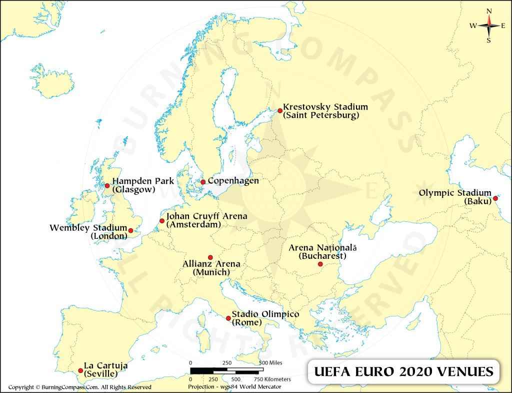 EURO 2020 Venues Map