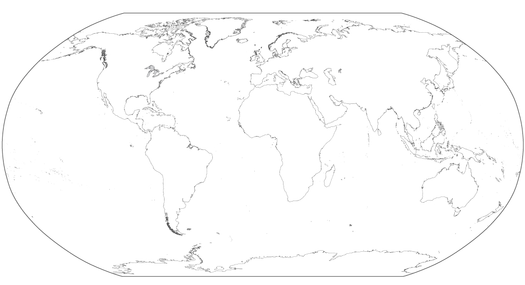 Outline Map of the World in Robinson